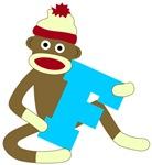 Sock Monkey Monogram Boy F