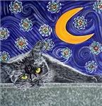 Starry Night Black Cat