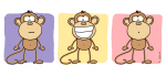 Monkey Trio Pastel