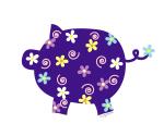 Swirly Flower Pig