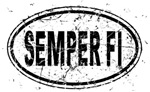 Distressed Semper Fi Oval