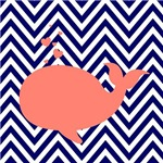 Navy Chevron and Coral Whale