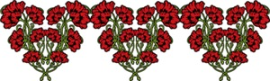 Red Flower Heart Motifs