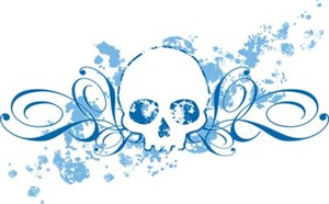 Blue Skull Spatters And Swirls