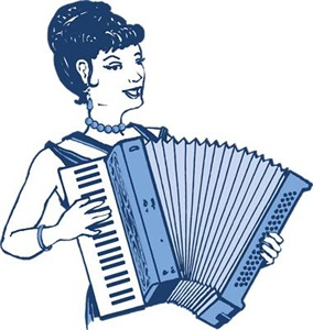 Retro Accordion Lady