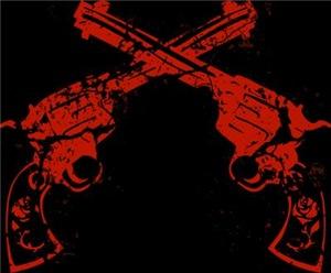 Worn Retro Crossed Pistols