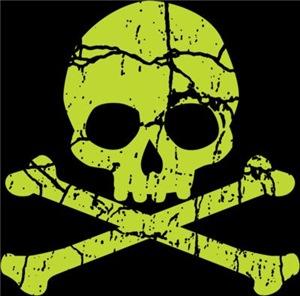 Worn Green Skull And Crossbones