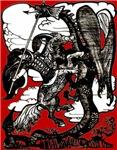 Knight vs. Dragon Woodcut