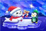 Holiday harp seal pup with penguin