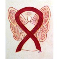Burgundy Awareness Ribbon Angel