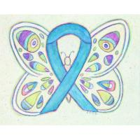 Blue Awareness Ribbon Butterfly