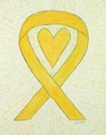 Yellow Awareness Ribbon Heart