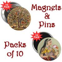 Hindu Art Round Magnets & Pins