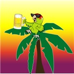 Parrot Lounging in a palm tree with a beer