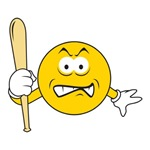 Mad Smiley Face With Baseball Bat