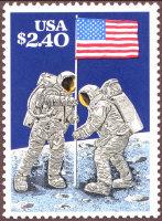 US Flag on Moon Apollo 11