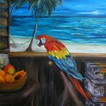 Scarlet macaw and mango
