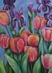 purple irises with pink tulips
