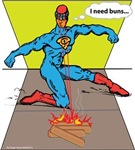 Superhero cooks hot dogs with laser beams