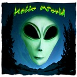alien grey hello world art illustration