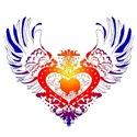 American Eskimo Rainbow Winged Heart
