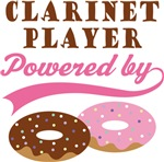 CLARINET PLAYER POWERED BY DONUTS T-shirts