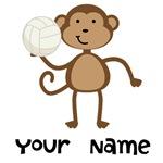 Personalized Volleyball Monkey Kids Tee Shirts