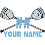 Personalized Crossed Goalie Lacrosse Sticks CBlue