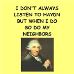a funny haydn joke on gifts and t-shirts.