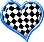 Auto Racing Heart Blue