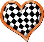 Orange Checkered Heart