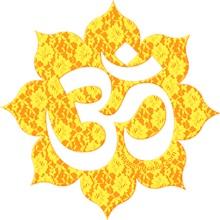 Om (Aum) universal sound. On lace flower.