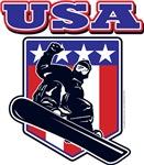 USA Patriotic Snowboarder