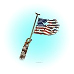 Disabled Veteran Waving Flag