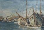 Vintage Art of Ships at Port