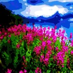 Floral Mountain Landscape