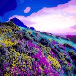 Yellow Purple Floral Mountain Landscape