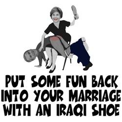 Bush Iraqi shoe shirts with Iraq shoe humor