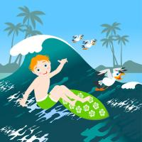 Boy surfing big wave