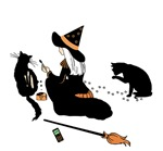 Halloween Witch & Cats