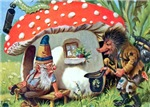 Gnome Outside his Toadstool Cottage
