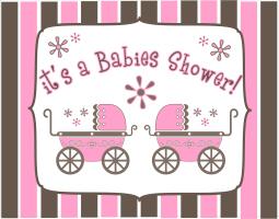 IT'S A BABIES SHOWER - TWIN GIRLS