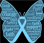 Prostate Cancer Butterfly Collage of Words Shirts
