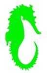 Green Seahorse Silhouette