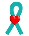 Teal Ribbon Heart