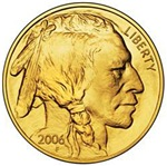Indian Head Gold on White
